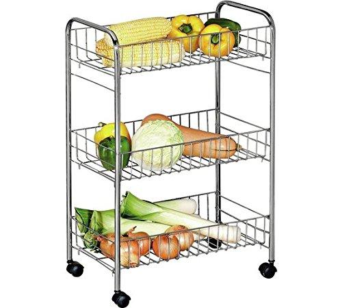 Great Value Slim design 3-Tier Slim Kitchen trolley montato su rotelle/ruote (altezza: 80cm,...