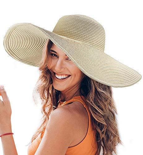 Dafunna Sonnenhut Damen Faltbar Strohhut UV Schutz Strandhut Elegant Sommerhut mit groß krempe für Sandstrand Urlaub (Beige)