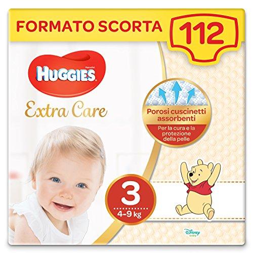Huggies Pannolini Extra Care, Taglia 3 (4-9 Kg), Confezione da 112 Pannolini
