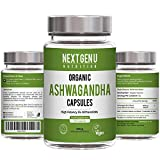 Next Gen U | 120 Organic Ashwagandha Capsules with Black Pepper | High Strength 5% Withanolides | 4 Months Supply Easy Swallow | Soil Association Vegan Society Certified | Ayurveda Withania Somnifera
