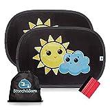Storch&Born® Auto Sonnenschutz, 2 selbsthaftende Sonnenblenden für Ihre Autoscheiben mit Andrückrakel und Aufbewahrungstasche, 48cm x 32,5cm   Sonnenschutzblende