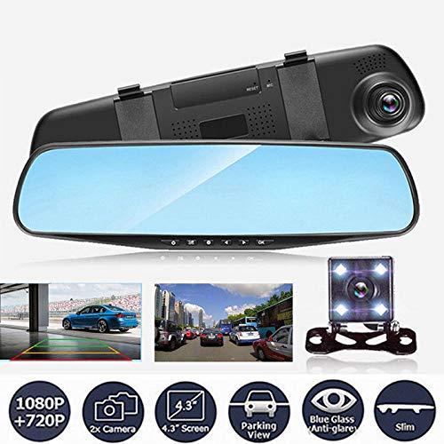XiuFen 4.3'' 1080P Dual Lens Car Auto DVR Mirror Dash Cam Recorder Rear View Camera Kit