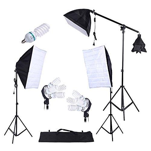 Andoer Softbox Set Studio Fotografico 3 * Softbox/ 2 * 4 in 1 Socket della Lampadina/ 8 * 45W...
