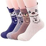 OKIE OKIE - Calcetines - para mujer Animal - Kawaii 4 piezas talla única