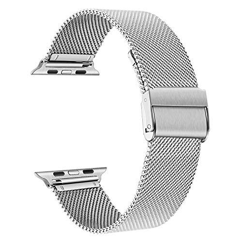 TRUMiRR Sostituzione per Apple Watch 42mm 44mm Cinturino, Cinturino in Acciaio Inossidabile Nero Cinturino in Metallo Intrecciato a Rete per iWatch Apple Watch Series 5, Series 4, Series 3 2 1