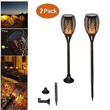 Chaozan®Lampe Torche Solaire de Jardin IP65 Lampes d'Eclairage de Flamme Imperméable 96LED Extérieures Vacillantes de Sécurité Lampes Jardi