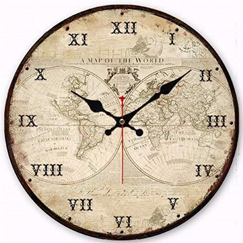 Gwgdjk Orologi antichi Silent World Map Sailboat Design Clock Home Decor per Cucina da Ufficio...
