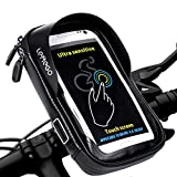 LEMEGO Soporte Bolsa Impermeable para Móvil Bicicleta, Manillar con Rotación 360 para Ciclismo, con Pantalla Táctil para Móvil Inferior 6.0 Inches, Negro