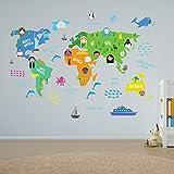 Educacional cuarto del bebé MUNDO MAPA - Interior Hogar Restaurante Café Fiesta Habitación Infantil Niños Decoración Autoadhesivo Adhesivos de pared pegatinas Murales, 180cm x 106cm, Multi - COLOR
