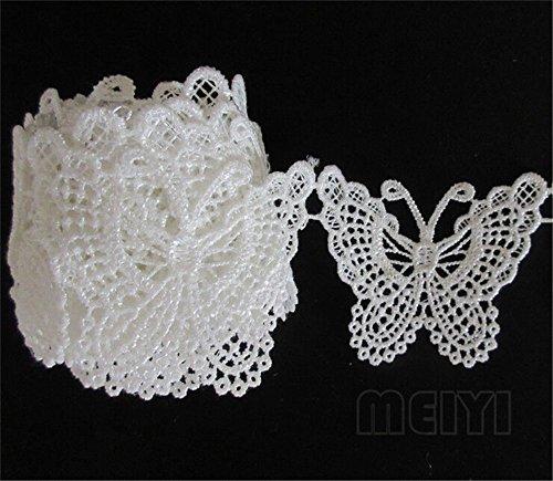 3M mariposa decorativos de borde de encaje. Lazo Blanco 4,5cm de ancho Vintage estilo Off Tela bordado Applique costura Craft vestido de boda adornos DIY Decoración Ropa Bordado