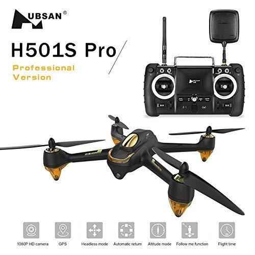 Hubsan H501S X4 PRO Brushless FPV Droni Quadricotteri GPS Fotocamera 1080P HD 5.8Ghz con Telecomando High Edition (H501S Nero)