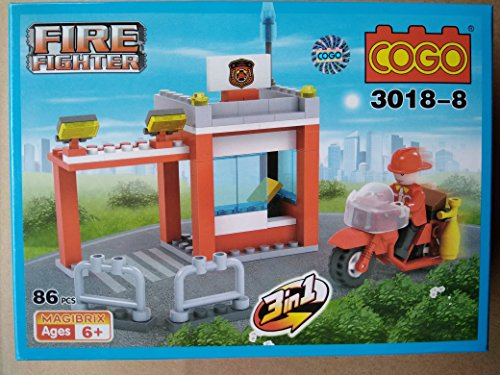 Toyshine Firefighter and Rescue Blocks Set, ABS Plastic Construction Toy, Starter Kit - (3018-8)