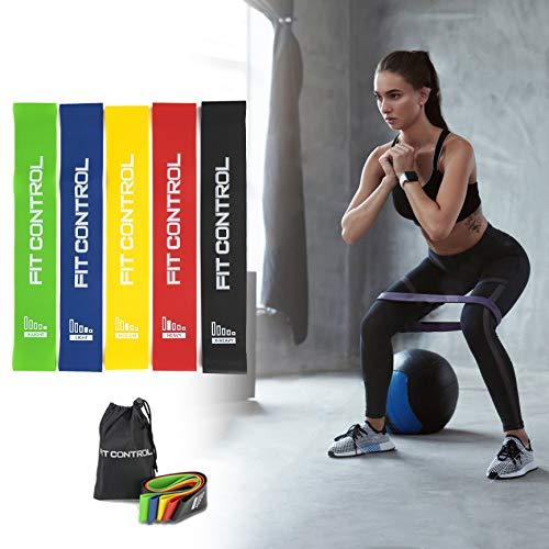 Elastici Fitness FitControl Bande Elastiche Resistenza Set Di 5 Bande Esercizi Fasce Elastiche -...