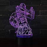 3D Lampada Illusion Optical Night Light, CKW 7 Cambia colore Touch Switch Decorazione Lampade Per comodino Bambini cameretta (Raven)