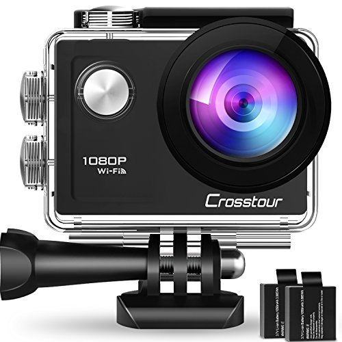 Crosstour Action Camera subacquea WiFi 1080P Full HD 12MP impermeabile 30m 2' LCD 170° grandangolare sport camera con 2 batterie ricaricabili 1050mAh e kit di accessori di montaggio