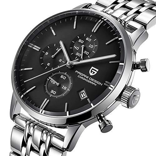 Pagani Design Herren Uhr Chronograph Japanisches Quarzwerk Business Wasserdicht Armbanduhr mit Schwarz Zifferblatt Edelstahl Armband