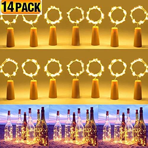 (14 pezzi) Luci per Bottiglia,CoolBa 2M 20 Tappi LED a Batteria per Bottiglie,Filo di Rame Led Decorative Stringa Luci da Interni e Esterni per Festa, Giardino, Natalizie, Matrimonio (Bianco Caldo)