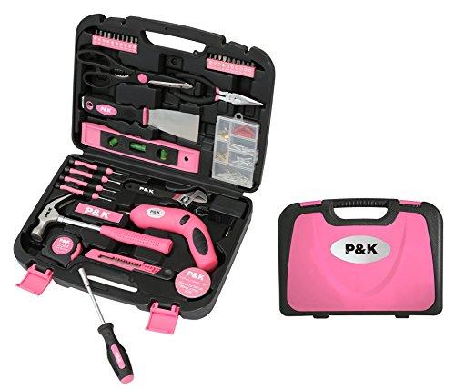 135 Teilig Werkzeugset Werkzeugkoffer Werkzeugkasten Pink Rosa