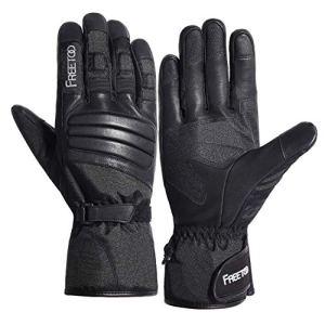 FREETOO Winter Handschuhe für Herren und Damen Wasserdichte Warme Handschuhe mit Ziegenleder, Touchscreen Motorrad Handschuhe für Outdoor Arbeiten 3