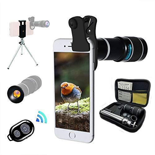 Universal 20X Clip-On Telecamera Teleobiettivo Smartphone Mobile Obiettivo Zoom Fotocamera Telescopio, Mini Tripod Maschera Occhi Gomma Compatibile IPhone Samsung Android