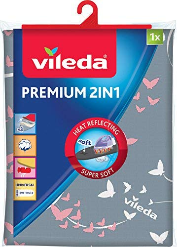Vileda Premium 2 in 1 Copriasse da Stiro, con Superficie Rivestita di Alluminio, Termoriflettente,...