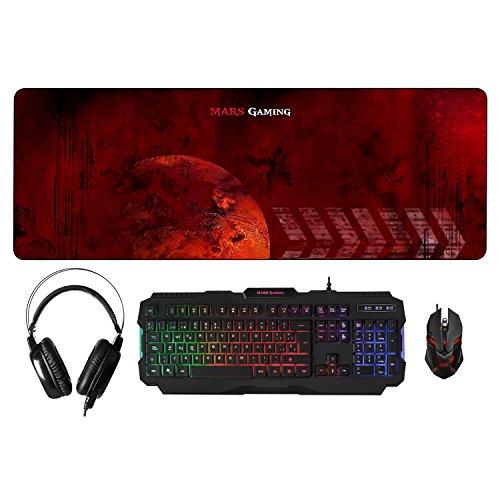 Mars Gaming, pack RGB de teclado, ratón, auriculares y alfombrilla, RGB