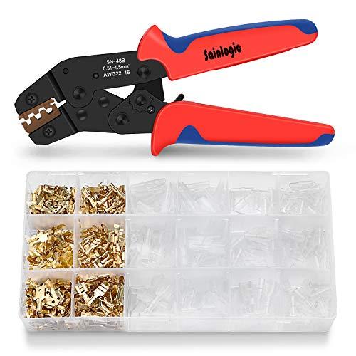 Sainlogic Crimpzange Flachsteckhülsen Set, Crimpwerkzeug mit 300 stück Kabelstecker 0,5-1,5 mm²