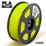 Enotepad PLA 3D Filament Printer Filament,1.75mm PLA,Filament 3D Printing Materials,Dimensional Accuracy ± 0.02 mm,2.2lbs(1KG) Spool,Yellow