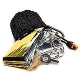 The Friendly Swede Paracord-Pouch mit Notfallschlafsack, Rettungsdecke und Feuerstarter (schwarz)