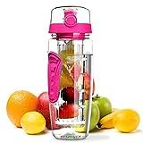 OMORC Bottiglia Acqua Detox 1 Litro con Infusore di Frutta, Borraccia Detox di Tritan, senza BPA, a Prova di Perdite, con Spazzolino di Pulizia, Portatile per Sport, Casa