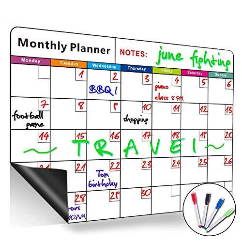 Lavagna magnetica con calendario mensile, cancellabile a secco, grande, multifunzione, bianca,...