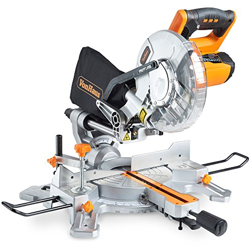 "Now, if you need a tool at a pocket-friendly price, the VonHaus 1500W 8"" (210mm) Sliding Mitre Saw suits the bill. This sliding mitre saw is capable of cutting through hardwood, plastics, and laminates. On top of that, it cuts material at different angles up to 45o in either direction thanks to its rotating mitre table. A dust bag is included to catch debris and a wood clamp to steadily support workpieces. You can also be sure of making accurate cuts due to its built-in laser guide system. This is a good choice for light-duty applications and more of a DIY tool than a professional's companion."