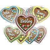 Lebkuchenherzen Mischkarton, verschiedene Sprüche - Menge wählbar - bekannt von der Wiesn/Oktoberfest - perfekt als Geschenk - 5 Herzen (5 x 70 g)