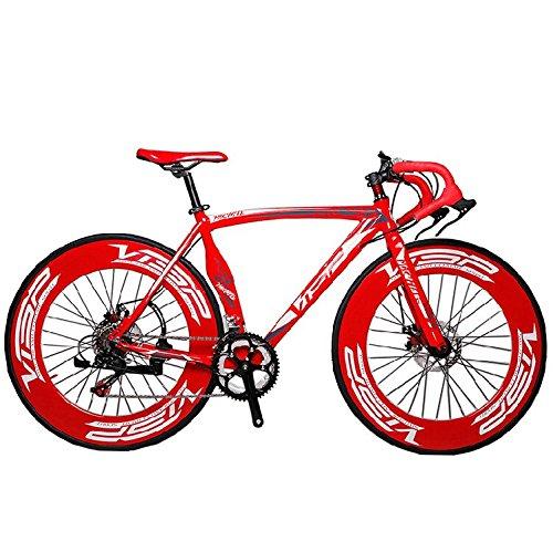 Cyrusher-EB7800-Rouge-Vlo-de-route-Shimano2400-Systme-de-drailleur--14-vitesses-700C-pneu-spcial-pour-vlo-de-ville-Cadre-en-allige-daluminium-Frein--disque