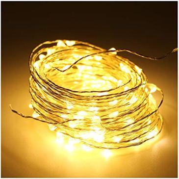 5M(16,4ft) 50 LED Cuivre fil de cuivre LED Guirlande lumineuse étanche étoiles Lumière Chaînes USB contrôlé pour le Festival de Noël (Blanc Chaud)