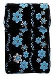 Flauschiges Wasserabweisendes Zigaretten Etui 'Flowers' für Zigarettenschachteln Zigarettenbox Zigarettencase (hellblau)