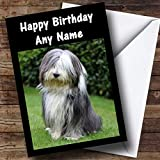 Bearded Collie Dog Personalised Birthday Card