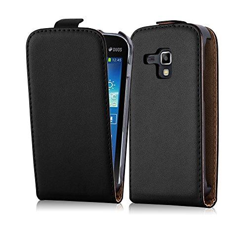Cadorabo Samsung Galaxy Trend Plus Custodia di Finta-Pelle Flip LUSCIO in Nero Carbone - Protezione in Stile Flip di Similpelle Fine - Portafoglio Cover Case Wallet Book Etui Protezione