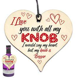 #903 Divertente regalo di San Valentino/compleanno per lei, in legno a forma di cuore per fidanzato