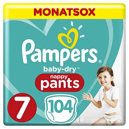Pampers Baby-Dry Pants misura 7, facile da indossare, fino a 12 ore di asciugatura mensile, 104 pezzi