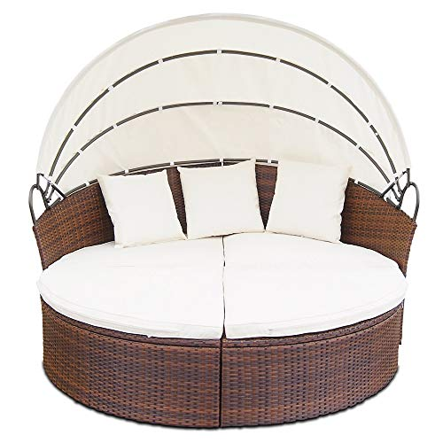 The Miadomodo Poly Rattan Day Bed Sun Island Lounger will certainly be the centre of attention wherever you place it. This product is suitable for both indoor and outdoor use and would look spectacular in a conservatory or even on the patio.