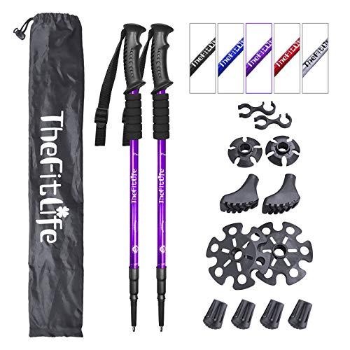 TheFitLife Bastones de Nordic Walking Montañismo Anti Golpes de Senderismo Trail, 2-Pack, Plegable Alpenstocks, Ultraligero Plegable para Viaje Montañismo, (Purple)