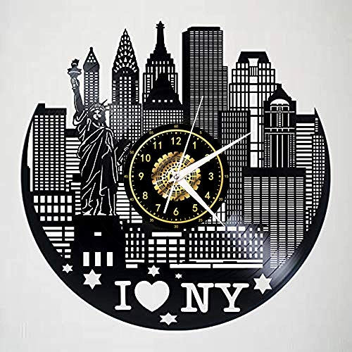 Amo New York Orologio Da Parete In Vinile Con Orologio A Led Luminoso Commemorare Art Decorazione Per Camera Da Letto Regalo Nessuna Luce A Led Da 12 Pollici