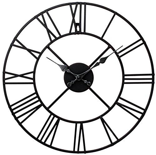 Stunning Metal Roman Numeral Clock - Black 'Iron' by Kitchen Clocks and Wall Clocks
