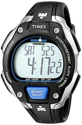 Timex T5K718 Men's Ironman Road Trainer Digital HRM Flex Tech Chest Strap& Full Size Black/Silver-Tone/Blue Watch