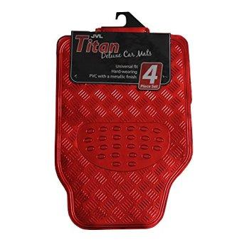 JVL Titan 01-692 Rubber Car Floor Mats with Metallic Design, Red, 4 Units