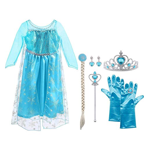 Vicloon Elsa Frozen Costume,Set da Principessa Elsa Corona Bacchetta Guanti Treccia,Ragazze Elsa...