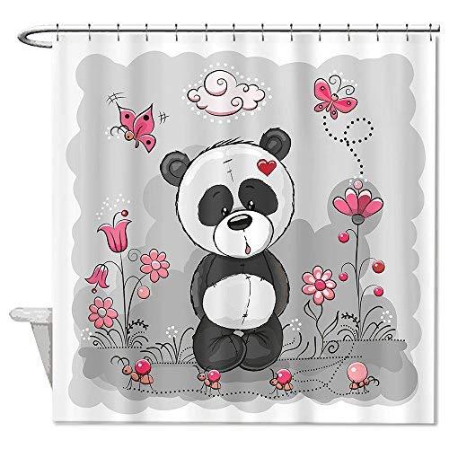 truiuiui rosa flores mariposas Ant Panda cortina de ducha de poliéster resistente al agua