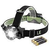 LE LED Stirnlampe, 5 Lichtmodi, 280lm superhelle Kopflampe, fokussierbar 160m Reichweite, IPX4 spritzwassergeschütztes Gehäuse, Ideal für Camping, Joggen, Jagd und Lesen, AAA Batterie ersetzbar