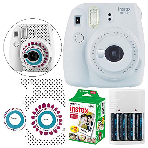 Fujifilm instax Mini 9 Instant Film Camera (Smokey White) + Fujifilm Instax Mini Twin Pack Film (20 Shots) - Camera Sticker for Fuji Instax Mini Cameras + 4 AA Batteries & White Charger ? Full Bundle